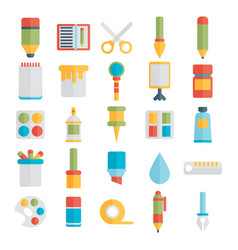 colored flat design icons set of art supplies art vector image