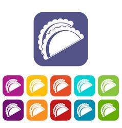Empanadas de pollo icons set flat vector