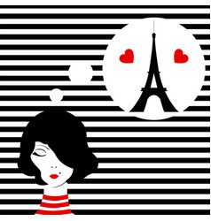 fashion girl dreaming of paris vector image vector image