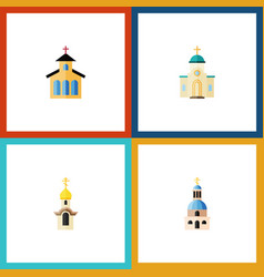 Flat icon christian set of religious church vector