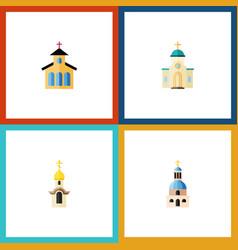 Flat icon christian set of religious church vector