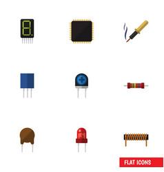 Flat icon electronics set of cpu repair vector