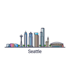 Flat line seattle banner vector