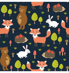 Forest seamless pattern with cute animals vector