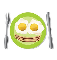 Fried egg plate vector
