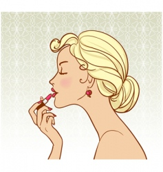 girl with lipstick vector image vector image