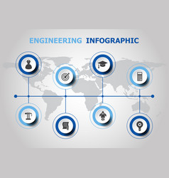 Infographic design with engineering icons vector