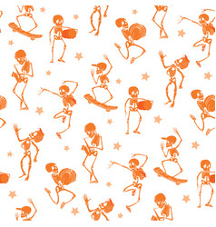Orange dancing and skateboarding skeletons vector