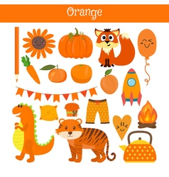 Orange learn the color education set of primary vector
