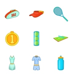 Play in tennis icons set cartoon style vector image