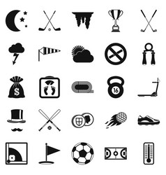playing golf icons set simple style vector image vector image