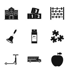 Primary school icons set simple style vector