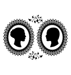 Profiles of man and woman in ornate frame Black vector image