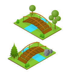 River bridge isometric view vector