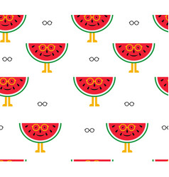Seamless background of watermelon and glasses vector