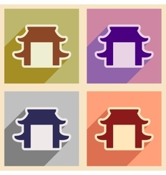 Set icons of japanese arch vector