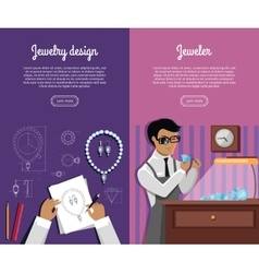 Set of jewelry concept web banners vector