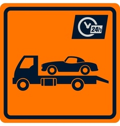 sign with truck tows vector image vector image
