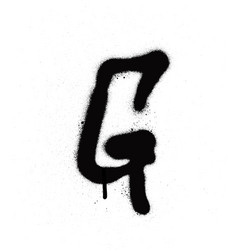 Sprayed g font graffiti with leak in black vector