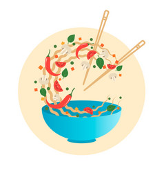 Stir fry flipping noodlesin a bowl vector
