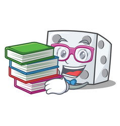 Student with book dice character cartoon style vector