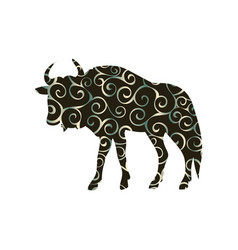 wildebeest antelope mammal color silhouette animal vector image vector image
