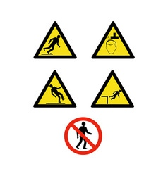 Workplace sign slippery falling fall vector