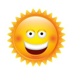 Yellow sticker happy sun icon vector