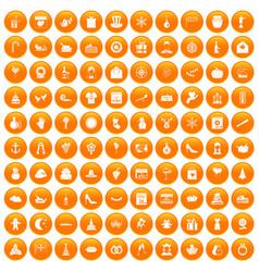 100 festive day icons set orange vector