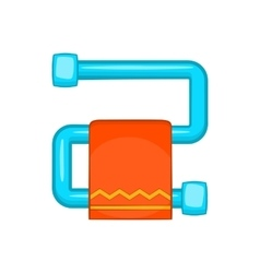 Heated towel rail with orange towel icon vector