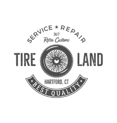 Vintage label design tire service emblem in vector