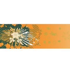 Orange christmas banner with green snowflakes vector
