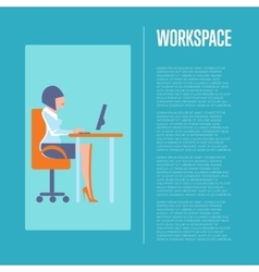 Workspace banner with business woman vector