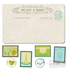 Vintage Postcard and Postage Stamps vector image