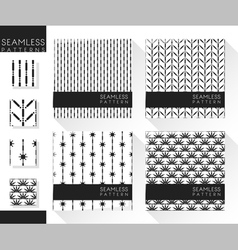 Set of abstract seamless patterns 4 vector