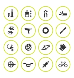 Set round icons of bicycle parts and accessories vector