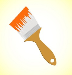 Orange paint brush on yellow smooth background vector
