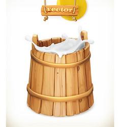 Wooden bucket Milk Rustic style Natural dairy vector image