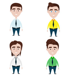 Four cute men with different hairstyles vector
