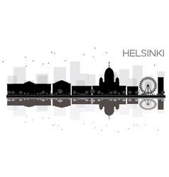 Helsinki city skyline black and white silhouette vector