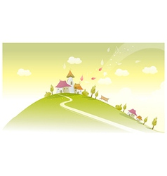 Houses on green landscape vector
