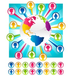 Colorful Bursting Planet and People Icons vector image