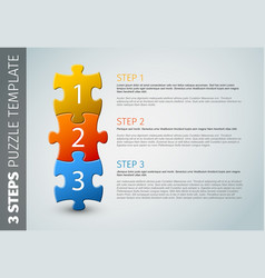 Three steps puzzle template vector