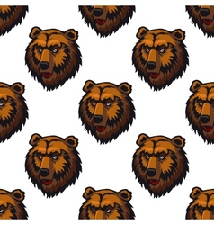 Seamless pattern of brown bear head trophies vector