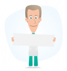 doctor holds up a poster vector image