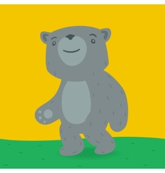 Toy bear walking on the grass vector