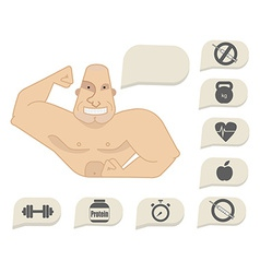 Bodybuilder torso with speech bubbles happy face vector