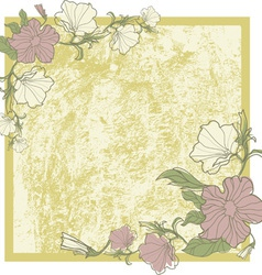 vintage frame with flowers vector image