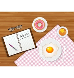 Tasty breakfast with tea and egg vector