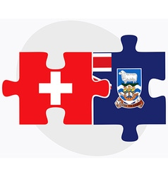Switzerland and falkland islands flags vector